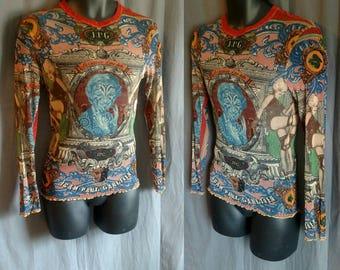 1994 Jean Paul Gaultier Money Mesh Tribal Shirt Men's  / 1990s Vintage JPG Tanel worn shirt Made in Italy