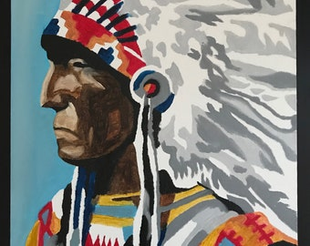Native American Chief Oil Painting on canvas Wall Decor