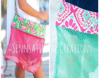 Monogrammed Beach Bag, Shell Bag, Beach Shell Bag, Collector's Bag, Monogrammed Water Toy Bag