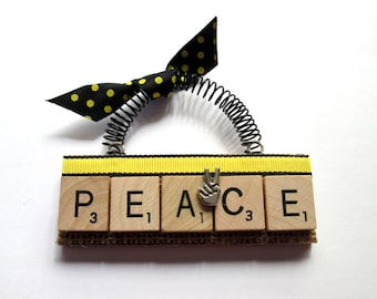Peace Scrabble Tile Ornament