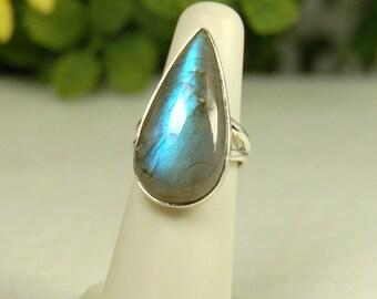 Labradorite Ring, Size 6, Blue Flash, Large Teardrop, Sterling Silver, Spectrolite, Big Blue Labradorite, Natural Labradorite