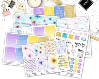Blossom | Full Weekly Vertical Kit | Planner stickers | Floral | Watercolor