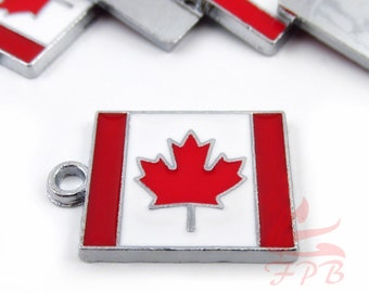 2 Canada Flag Charms 22mm Maple Leaf Canadian Flag Enamel Pendants For Jewelry Making EC0014851