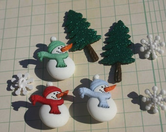 Snowman Buttons - Snowflake Buttons Christmas Tree Flatbacks - Christmas Crafting - 8 Pieces Per Package