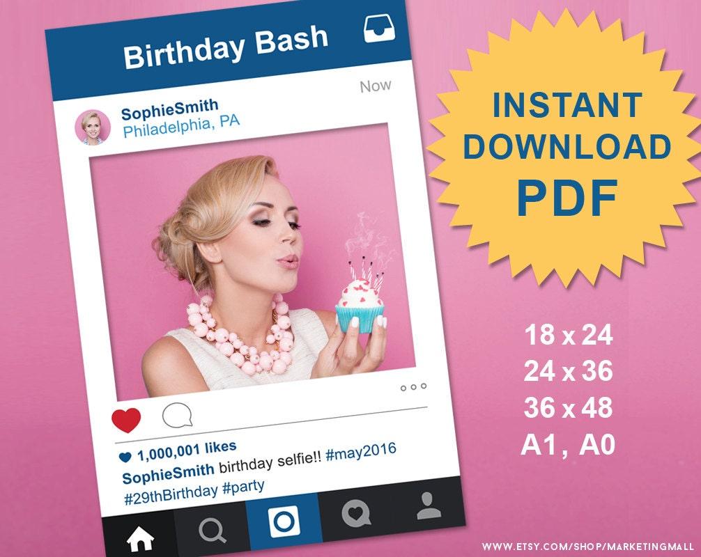PDF Instagram Style Social Media Photo Prop Frame Photo Booth - Instagram frame template