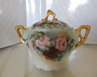 Handpainted Rose Motif Lidded Sugar Bowl signed by Artist