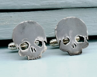 Skull Cufflinks in sterling silver. Skull Jewellery. Gothic Cufflinks. Cufflinks handmade in the UK.