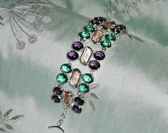 "Natural Citrine, green & purple Amethyst gemstones, solid sterling silver Bracelet  8"" long FREE SHIPPING"
