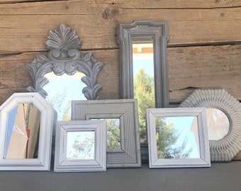 Shades of Grey Gary White Ornate Upcycled 7 Mirrors collection.... Painted Modern Farmhouse Gallery Wall Mirror Wall Ornate Mirrors bedroom