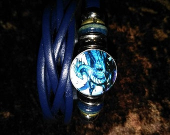 Blue Dragon leather bracelet