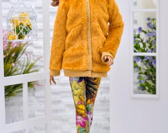 ELENPRIV yellow mustard color fur coat with full satin lining and belt for Fashion royalty FR16, ITBE, Sybarite and similar body size dolls