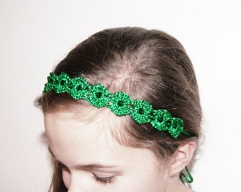 Emerald Green Crochet Headband - Green Lace Beaded Headband - Flower Girl Headband - Christmas Green Girls Headband with Swarovski Beads