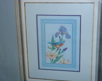 Counted Cross Stitch Picture Kit  Iris and Bluebird by Columbia Minerva Size: 9 inches X 13 inches