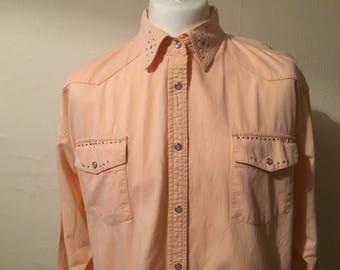 Vintage Western  pearl snap shirt - Cowboy shirt - Vintage mens shirt - western shirt - Mens medium shirt - Button up shirt