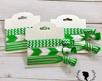 Green and Silver Chevron Hair Tie Set