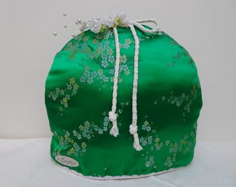 TEA COZY Kelly Green HANDMADE One of a Kind Decorative