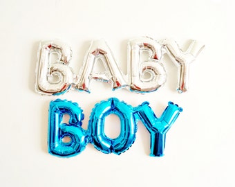 BABY BOY balloon blue mylar - baby shower birth announcement gender reveal - Air Fill Only