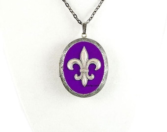 Fleur De Lis Pill Box Necklace Inlaid in Hand Painted Purple Enamel Antique Silver Oval Locket Necklace with Color and Personalized Options