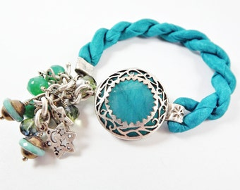 Teal Blue Exotic Boho Gypsy Statement Adjustable Bracelet - Turkish Silk Stackable - Semi Precious Stone Glass Beads - Silver