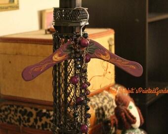 Hand Painted Violet Chicken Themed Coat Hanger- Baby Shower, Folk Art, Valentine's Day, Birthday Gift, Farmhouse, Chicks, Easter, Spring