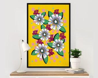 Botanical Art Print, Interior Decor, Wall Decor, Beautiful Floral Illustration, Vintage Yellow