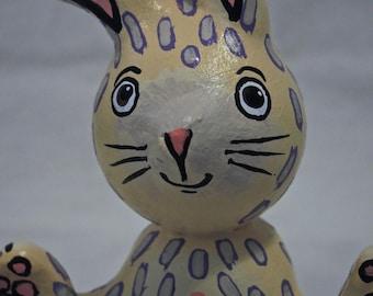 Easter Bunny mixed media folk art sculpture