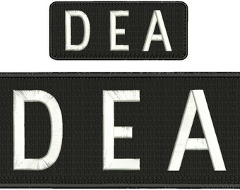 DEA Embroidery Patch 10x4 and 5x2 inches Hook backing white letters