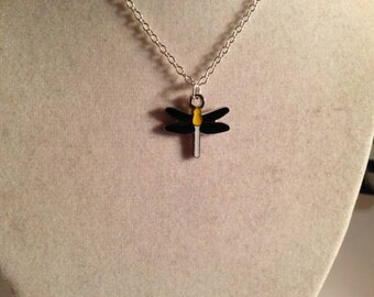 Children's Dragonfly Necklace Dragonfly Pendant Flower Girl Necklace Silver Chain Jewelry Jewellery Everyday Black Yellow Insect Nature