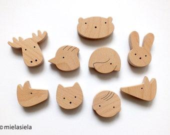 Fridge magnets, Set of 9 - Kids fridge magnets - Playful magnets for children - Wooden home accessories