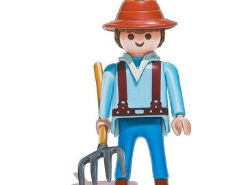 Nursery Art Print, Playmobil Farmer Art, Toy Farmer Print, Childrens Room Art, Kids Wall Decor, Boys Room Art, Baby Nursery Art, Baby Decor