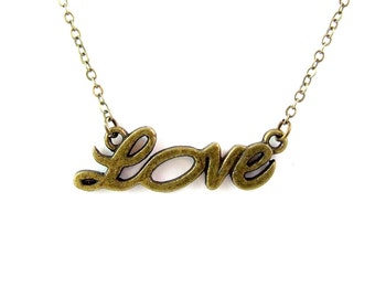 Love in Cursive Brass Necklace