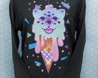 Revenge of Mewclops 3/4 Sleeve Wideneck Sweatshirt Kawaii Fairy Kei Pastel Goth