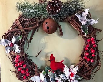 Primitive Cardinal Winter Wreath, Primitive Holly Yule Wreath, Primitive Christmas Wreath, Cardinal Holly and Berries Wreath