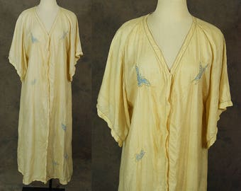 vintage 20s Silk Robe - 1920s Butterfly Embroidered Robe - Pongee Tissue Silk Kimono Robe - Asian Flapper Robe Sz S M L Xl