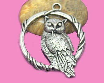 Large pendant OWL 35 mm/US silver findings