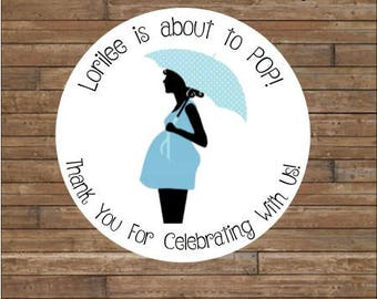 Personalized Baby Shower Stickers     About To Pop Stickers    About to Pop Favor Tags