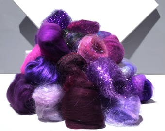 Purple Fiber kit, Purple Sampler, roving, wool, firestar glitz Needle, Wet Felting wool, Spinning, mini batt, lavender, violet, eggplant 1oz