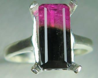 3.15ct Natural bi-colour watermelon tourmaline pink dark green 925 Silver /9ct 14k 18k yellow white rose Gold ring all sizes
