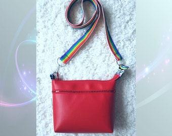 Red messenger bag, red bag, red handbag, shoulder bag Maya