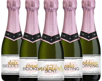 Custom Mini Champagne Labels - Wedding Planning Champagne Labels - Wedding - Engagement Gift - Wedding Planning Milestones - Unique Gift