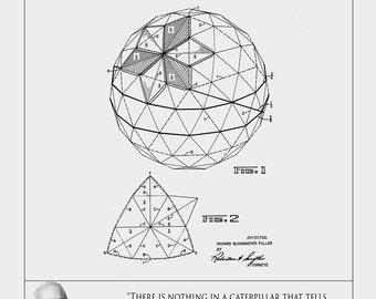 Patent Art Print of Geodesic Dome - Buckminster Fuller Print -