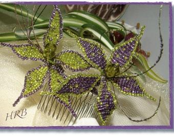 WOODLAND LILIES HANDBEADED Moss Green and Amethyst Wedding Flowers