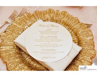 "7 1/2"" diameter glamorous and classy circle wedding menu cards"