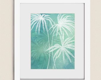 Tropical Wall Art Beach Home Decor, 11 x 14 Palm Tree Leaves, Ocean Blue Green Beach House Art (145)
