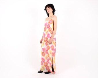 90s does 70s Dreamy Pop Art Bright Floral TRAPEZE Swing Spaghetti Strap Tent Maxi Festival Dress - So Gucci