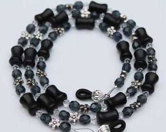 Black Eyeglass Chain Gray Beaded Glasses Chain, Beaded Eyeglass Chain