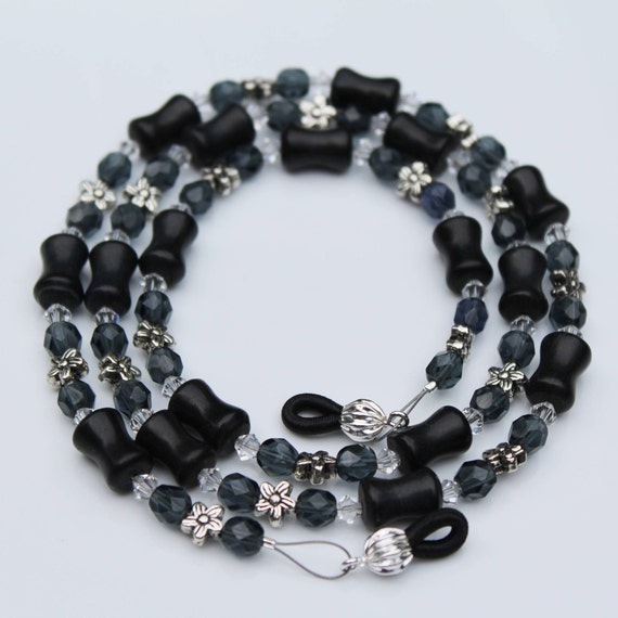 Black Eyeglass Chain Gray Beaded Glasses Chain, Beaded Eyeglass Chain