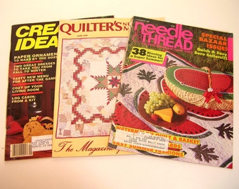 Vintage Craft Magazines Needle And Thread, Quilter's Newsletter And Creative Ideas