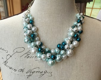 Clearance sale Clustered Pearl necklace in light blue (Aqua) teal blue and white with teal crystals, bridesmaid jewelry
