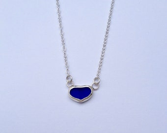 Cobalt Blue Sea Glass Mini Necklace, Mermaid Necklace, Blue Sea Glass Necklace in Sterling Silver - Sea Glass Collection